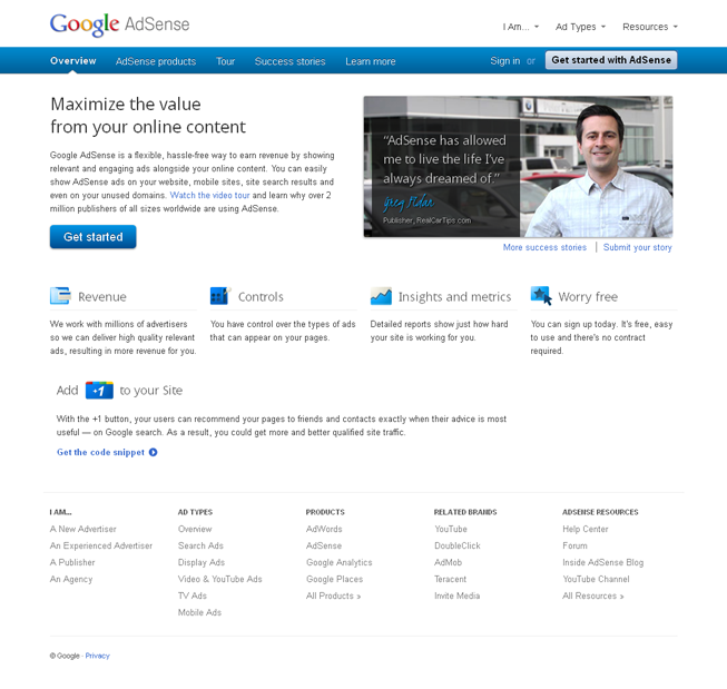 AdSense website design mockup