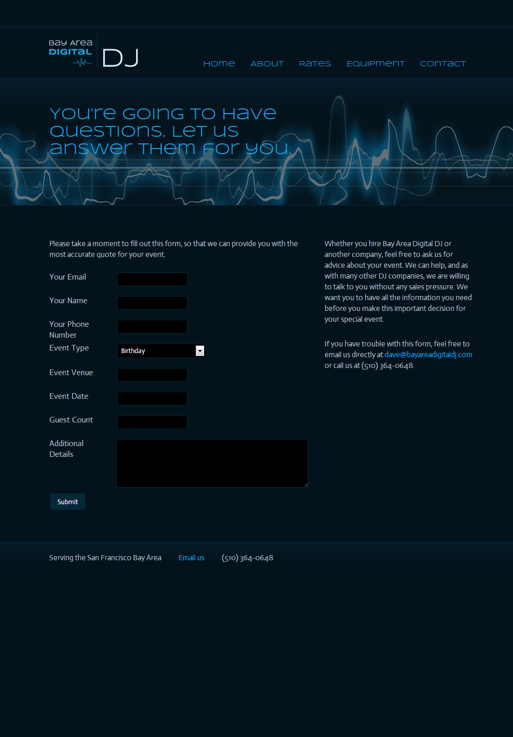 Bay area digital dj site mockup